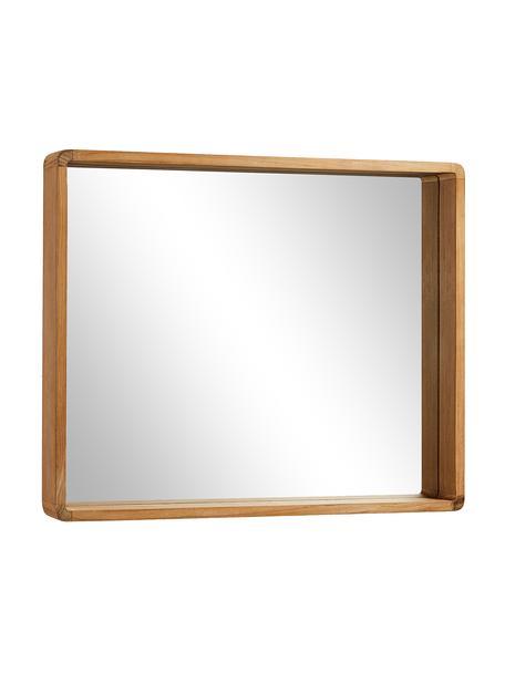 Eckiger Wandspiegel Kuveni mit Teakholzrahmen, Rahmen: Teakholz, Spiegelfläche: Spiegelglas, Braun, 80 x 65 cm