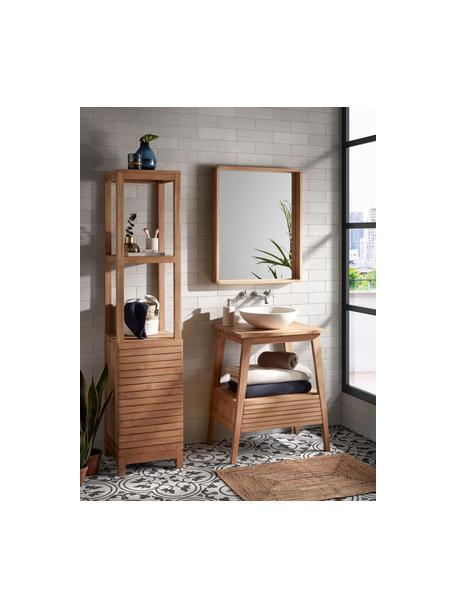 Specchio da parete con cornice in legno Kuveni, Cornice: legno di teak, Superficie dello specchio: lastra di vetro, Marrone, Larg. 80 x Alt. 65 cm