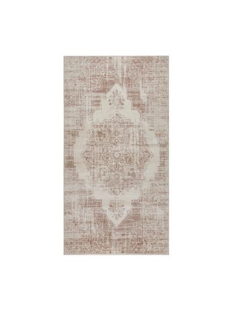 Vloerkleed Garonne in vintage stijl, Bovenzijde: 100% polypropyleen, Onderzijde: jute, Koperbruin, beige, 80 x 150 cm