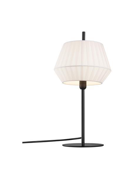 Lampada da tavolo con paralume in tessuto plissettato Dicte, Paralume: tessuto, Base della lampada: metallo rivestito, Bianco, nero, Ø 21 x Alt. 43 cm