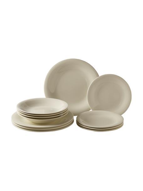 Set 12 piatti per 4 persone Loop, Porcellana, Beige, bianco crema, Set in varie misure