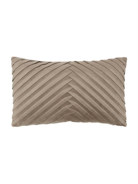 Fluwelen kussenhoes Lucie in taupe met structuur-oppervlak, 100% fluweel (polyester), Beige, 30 x 50 cm