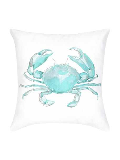 Kussenhoes Crabby met print in aquarellook, 100% katoen, Blauw, wit, 40 x 40 cm