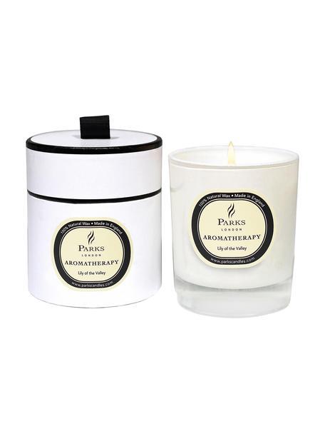Duftkerze Aromatherapy (Maiglöckchen), Behälter: Glas, Transparent, Weiß, Beige, Ø 8 x H 9 cm