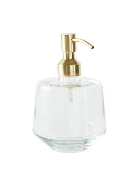 Dosificador de jabón Cornelia, Recipiente: vidrio, Dosificador: metal recubierto, Latón, transparente, Ø 10 x Al 15 cm