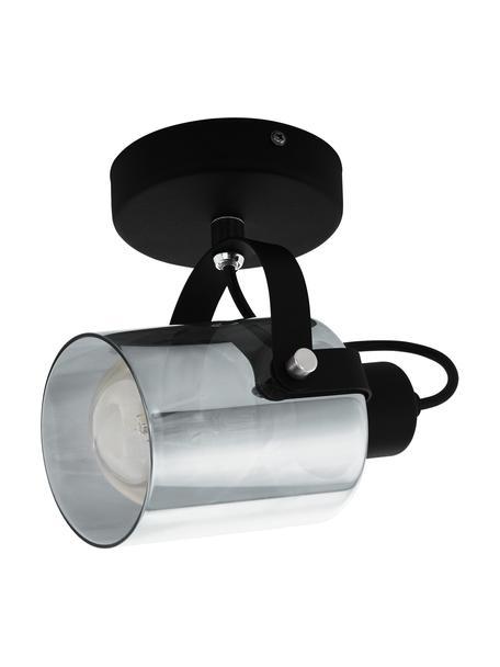 Kinkiet/lampa sufitowa ze szkła Berregas, Stelaż: metal lakierowany, Odcienie chromu, czarny, S 13 x W 11 cm