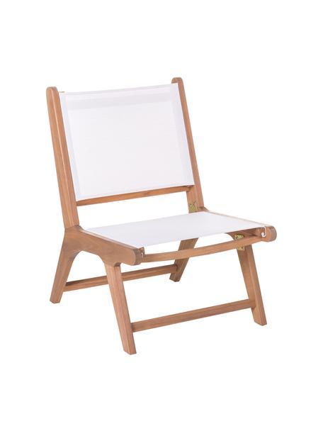 Fotel wypoczynkowy ogrodowy z drewna akacjowego Nina, Stelaż: lite drewno akacjowe, Biały, S 50 x G 64 cm