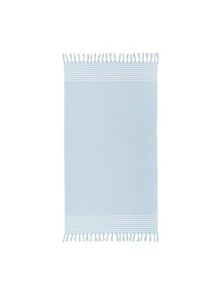 Hamamdoek Freddy met franjes en badstof aan de achterkant, Lichtblauw, 100 x 180 cm