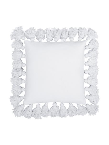 Kissenhülle Shylo in Weiss mit Quasten, 100% Baumwolle, Weiss, 40 x 40 cm