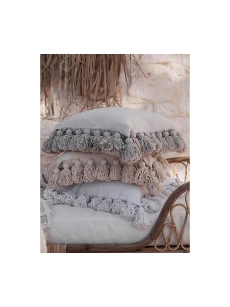 Kussenhoes Shylo in wit met kwastjes, 100% katoen, Wit, 40 x 40 cm