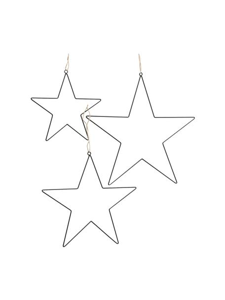 Set 3 ciondoli a stella decorativi argentati Elvira, Nero, Set in varie misure