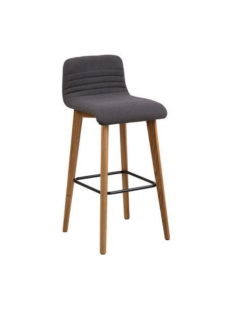 Barstoel Arosa, Bekleding: polyester, Poten: eikenhout, Zitvlak: multiplex, Bekleding: antraciet. Poten: eikenhoutkleurig. Voetsteun: zwart, 44 x 101 cm