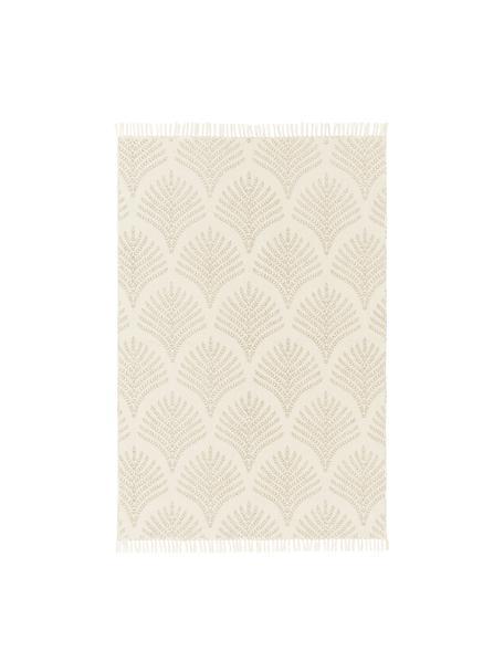 Flachgewebter Baumwollteppich Klara in Beige/Taupe mit Fransenabschluss, Beige, B 50 x L 80 cm (Grösse XXS)