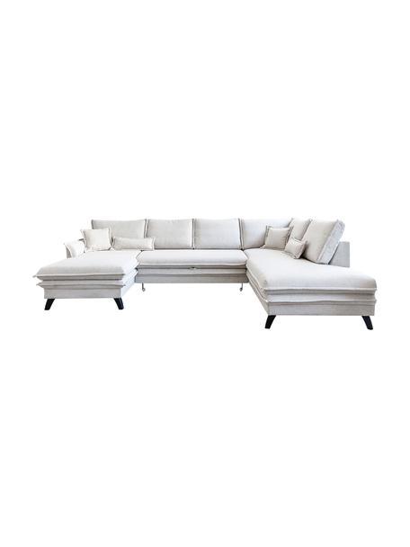 Sofá cama rinconero Charming Charlie, con espacio de almacenamiento, Tapizado: 100%poliéster tacto de l, Estructura: madera, aglomerado, Beige, An 302 x F 200 cm