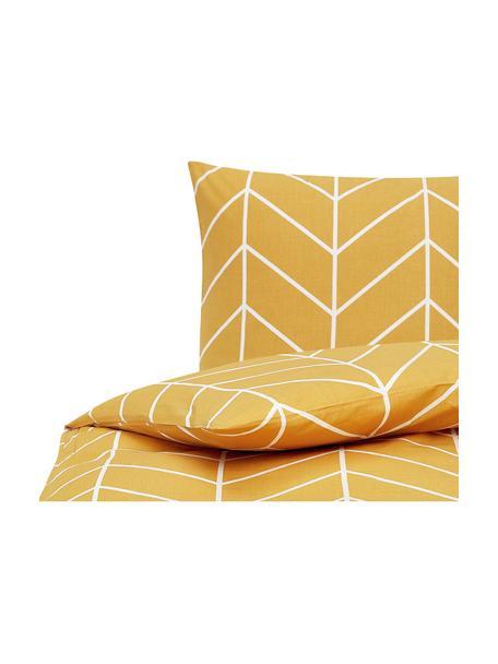 Baumwoll-Bettwäsche Mirja mit grafischem Muster, Webart: Renforcé Fadendichte 144 , Senfgelb, Cremeweiß, 135 x 200 cm + 1 Kissen 80 x 80 cm