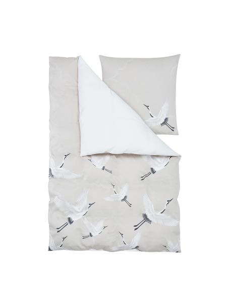Pościel z satyny bawełnianej Yuma, Beżowy, biały, szary, 135 x 200 cm + 1 poduszka 80 x 80 cm