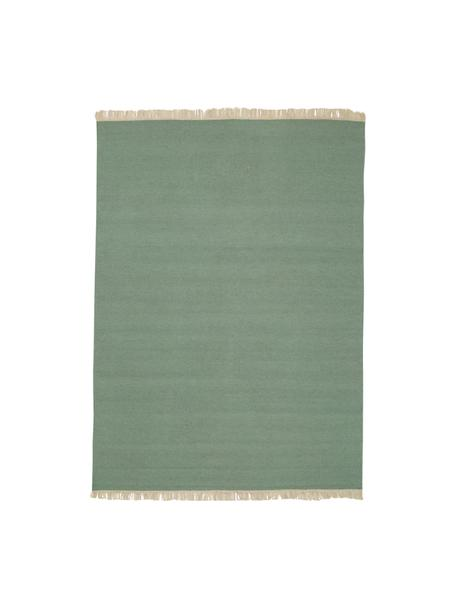 Alfombra artesanal de lana con flecos Rainbow, Flecos: 100%algodón, Verde pistacho, An 140 x L 200  cm(Tamaño S)