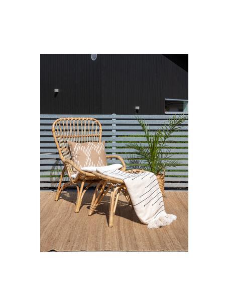 Rotan tuinstoel Ella met voetenbank, Rotan, polyester, Beige, 66 x 131 cm