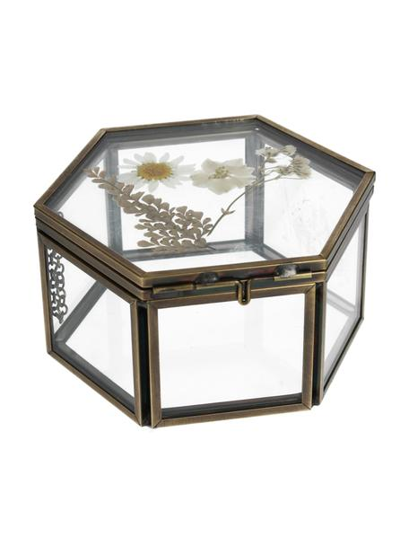 Scatola portagioielli Dried Flowers, Cornice: metallo rivestito, Oro, trasparente, Larg. 11 x Alt. 5 cm