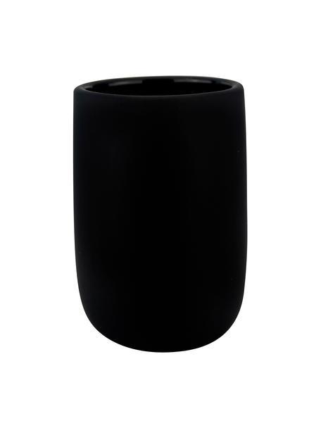Porta spazzolini in ceramica Lotus, Ceramica, Nero, Ø 7 x Alt. 10 cm