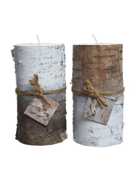 Set 2 candele decorative Stumps, alt. 14 cm, Cera, Marrone, bianco, Ø 7 x Alt. 14 cm