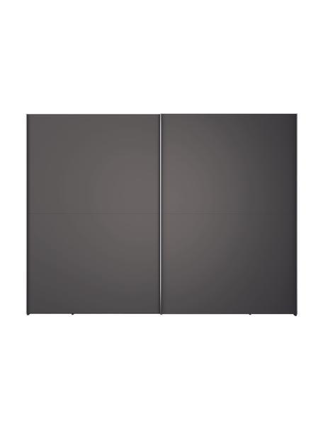 Kledingkast Oliver met schuifdeuren in donkergrijs, Frame: panelen op houtbasis, gel, Donkergrijs, 302 x 225 cm