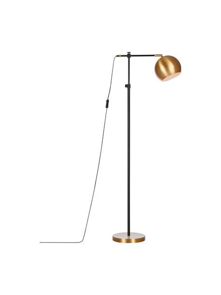 Lampa do czytania z metalu w stylu industrial Chester, Stelaż: mosiądz lakierowany, Brązowy, czarny, S 54 x W 135 cm