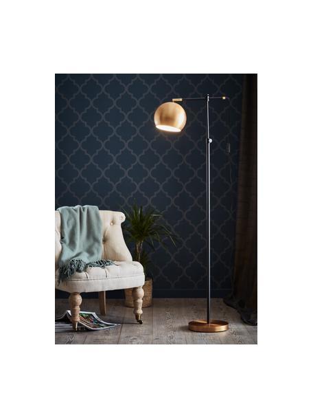 Lámpara de lectura pequeña Chester, estilo industrial, Estructura: latón pintado, Cable: plástico, Marrón, negro, An 54 x Al 135 cm