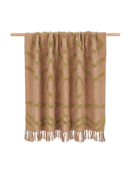 Katoenen plaid Fringe met getufte decoratie, 100% katoen, Bruin, 130 x 170 cm