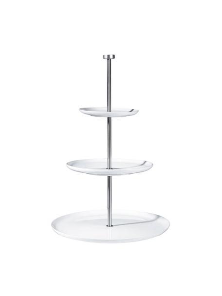 Keramik Etagere Kier mit silbernem Gestell, Ø 30 cm, Keramik, Metall, Weiß, Ø 30 x H 47 cm