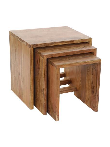 Set 3 tavolini in legno di acacia Palma 3 pz, Massiccio legno d'acacia, Marrone chiaro, Set in varie misure