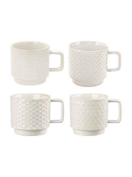 Gemusterte Tassen Lara in verschiedenen Größen, 4er-Set, Steingut, Gebrochenes Weiß, Ø 8 x H 8 cm