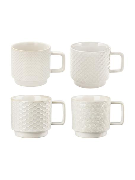Set 4 tazze fantasia in varie misure Lara, Gres, Bianco latteo, Ø 8 x Alt. 8 cm