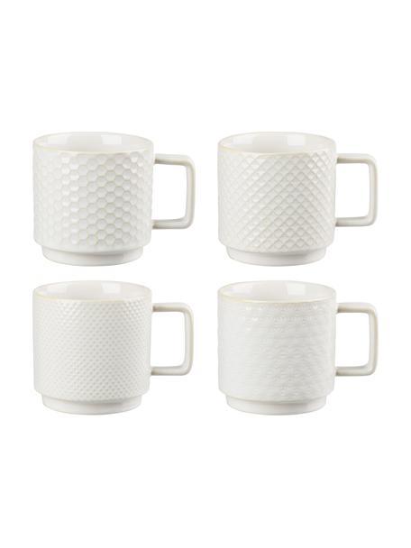 Große gemusterte Tassen Lara in verschiedenen Größen, 4er-Set, Steingut, Gebrochenes Weiß, Ø 8 x H 8 cm