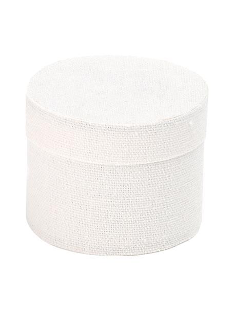 Geschenkbox Round , Baumwolle, Weiss, Ø 10 x H 9 cm