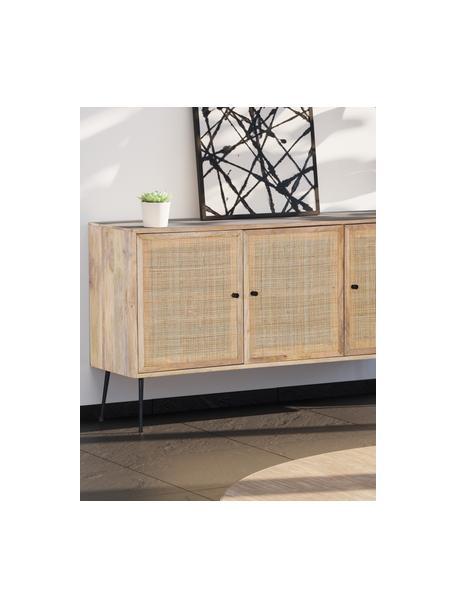 Mangohouten dressoir Larry met vlechtwerk, Frame: mangohout, Poten: gelakt metaal, Bruin, 145 x 80 cm