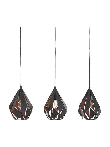 Duża lampa wisząca z metalu Carlton, Czarny, S 81 x W 28 cm