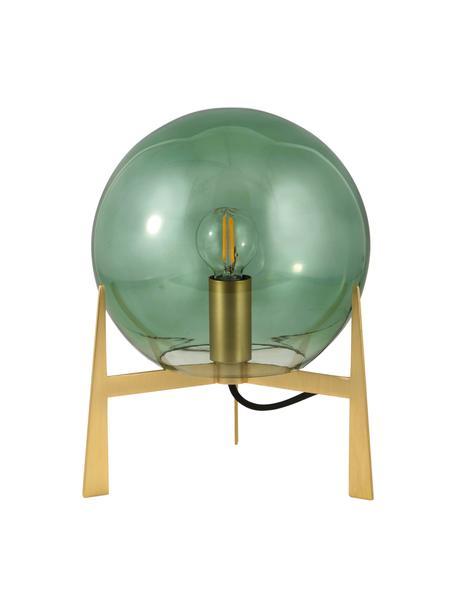 Mała lampa stołowa ze szkła Milla, Zielony, odcienie mosiądzu, czarny, Ø 22 x W 28 cm