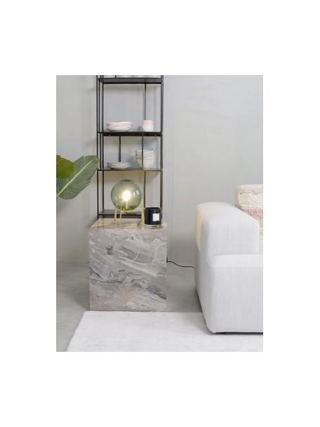 Lámpara de mesa pequeña de vidrio Milla, Pantalla: vidrio, Cable: cubierto en tela, Verde, latón, negro, Ø 22 x Al 28 cm