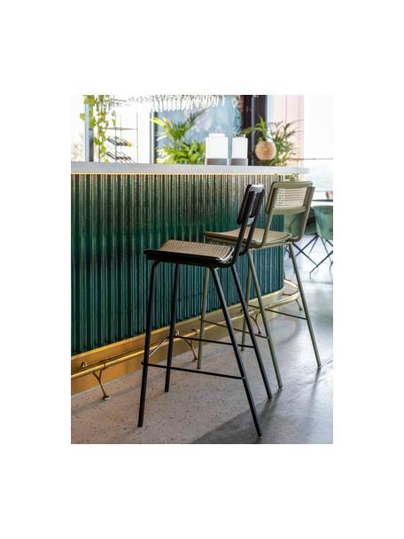 Sedia da bar con intreccio viennese Jort, Seduta: rattan, Struttura: legno di betulla massicci, Gambe: acciaio verniciato a polv, Nero, Larg. 47 x Alt. 106 cm