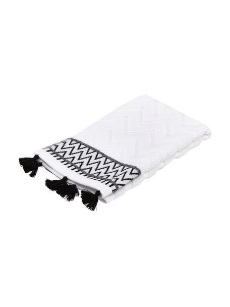 Handtuch Karma in verschiedenen Größen, mit Hoch-Tief-Muster, Weiß, Schwarz, Gästetuch