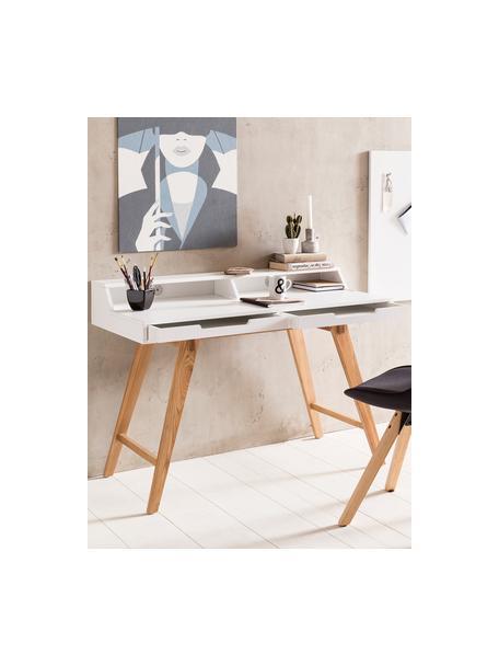 Scrivania con gambe in legno e cassetti Skandi, Gambe: legno di quercia massicci, Bianco, legno di quercia, Larg. 110 x Alt. 85 cm