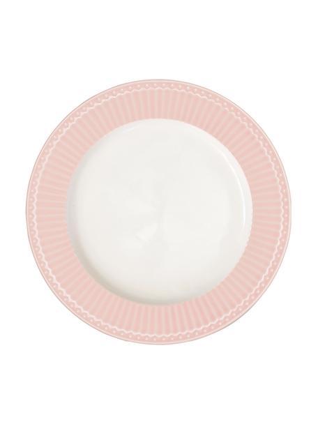 Handgemaakte dinerborden Alice in roze met reliëfdesign, 2 stuks, Porselein, Roze, wit, Ø 27 cm