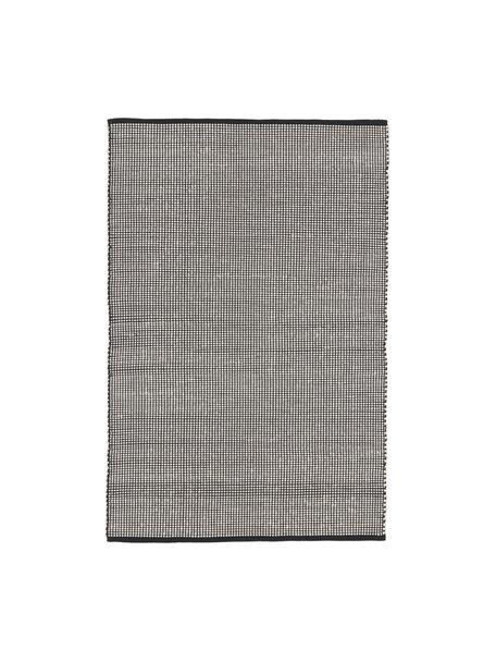 Tappeto in lana color nero/crema tessuto a mano Amaro, Retro: 100% cotone Nel caso dei , Nero, bianco crema, Larg. 120 x Lung. 180 cm (taglia S)