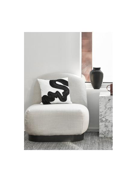 Handgeweven wollen vloerkleed Amaro in zwart/crèmekleur, Bovenzijde: 100% wol, Onderzijde: 100% katoen Bij wollen vl, Zwart, crèmewit, B 120 x L 180 cm (maat S)