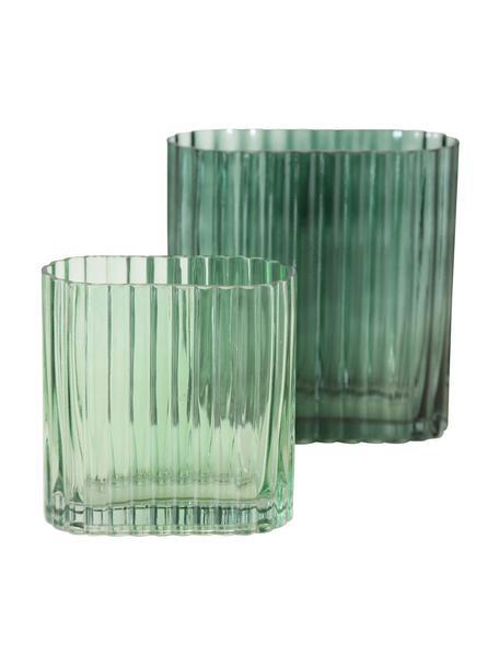 Komplet wazonów ze szkła Tulipa, 2 elem., Szkło, Zielony, Komplet z różnymi rozmiarami