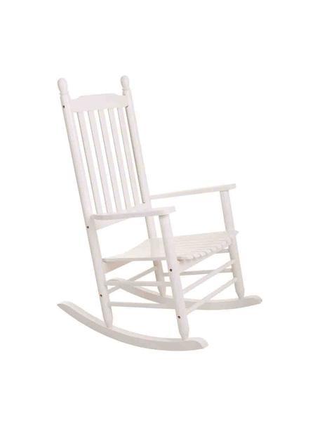 Sedia a dondolo in legno Pedro, Legno di pioppo, Bianco, Larg. 87 x Alt. 69 cm