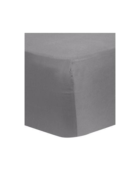 Boxspring-Spannbettlaken Comfort in Dunkelgrau, Baumwollsatin, Webart: Satin, leicht glänzend, Dunkelgrau, 90 x 200 cm