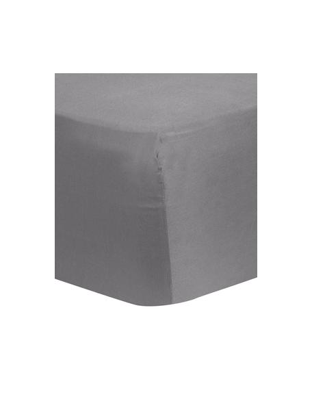 Lenzuolo con angoli in raso di cotone grigio scuro Comfort, Grigio scuro, Larg. 90 x Lung. 200 cm