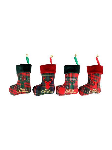 Calcetines decorativas Merry Christmas, 4uds., Poliéster, algodón, Verde, rojo, negro, An 14 x L 17 cm